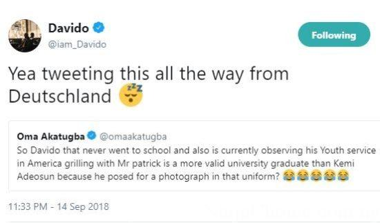 Davido Accused of Posing for Photos in Nysc Uniform Without Going to School; He Responds