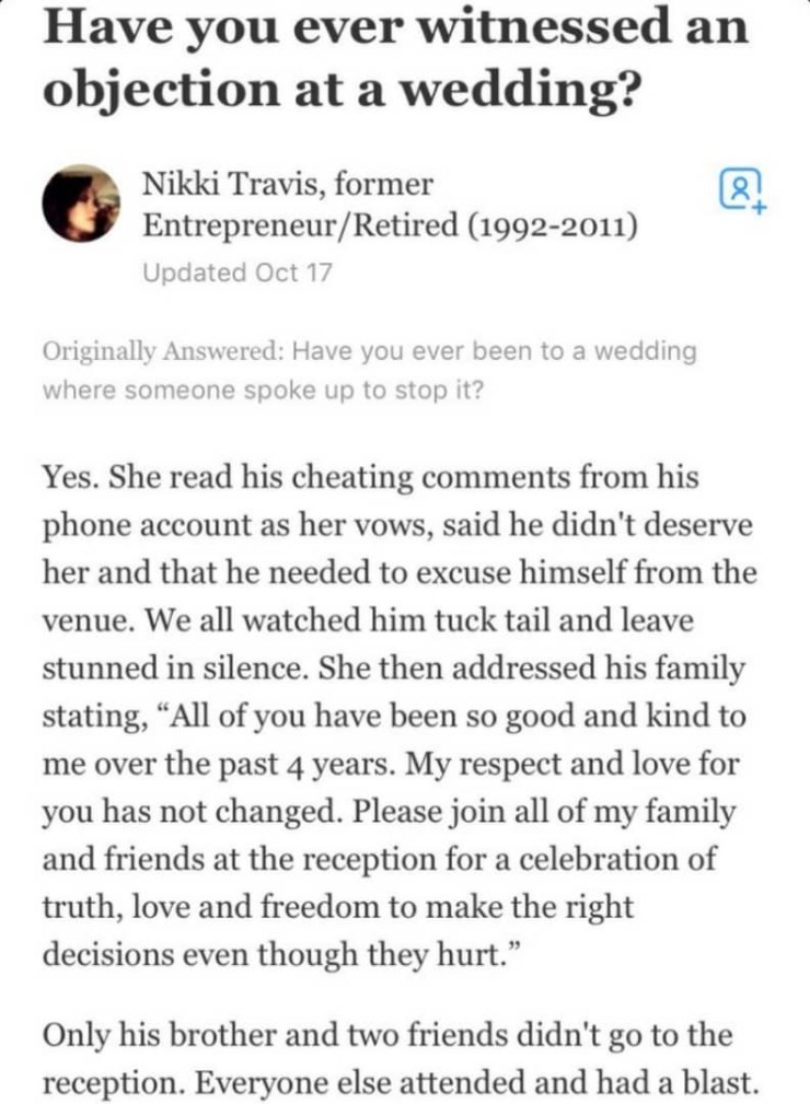 Bride Exposes Her Man During Their Wedding By Reading Out His Cheating Comments