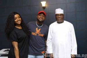 Davido And Chioma All Smiles As They Visit Atiku In Abuja (Photo)