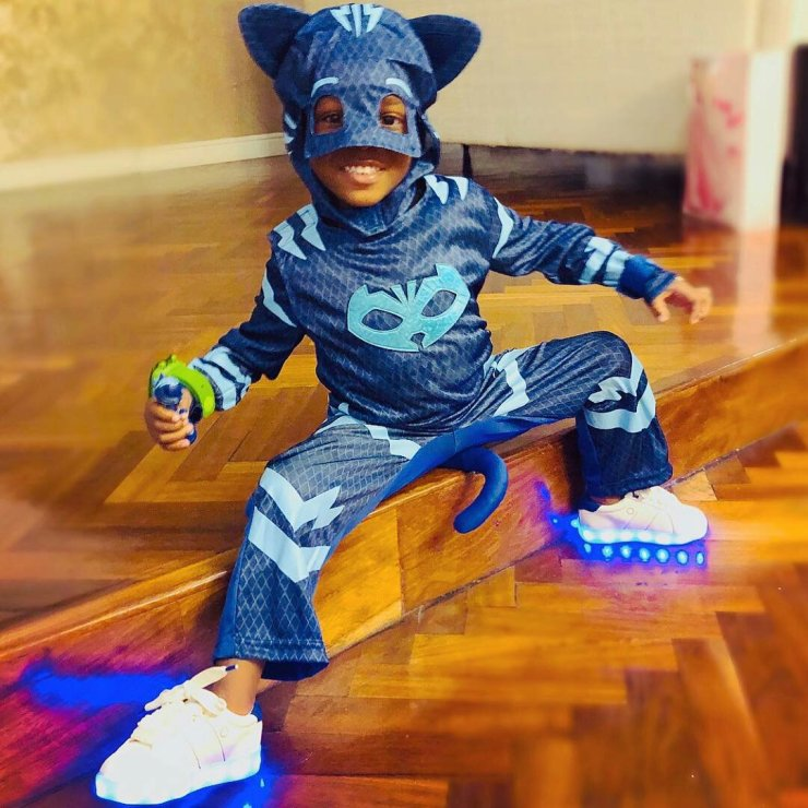 Photo of Tiwa savage's son & Davido's Daughter in their Cute Superheroes costumes for Halloween