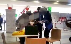 The Moment A Side-chic Fled As Wife Busts Her Husband At A Popular Mall In Lagos (Photos+Video)