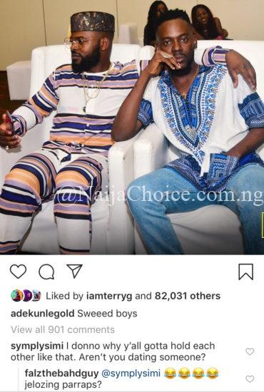 Jealous Simi Reacts To Picture Of Falz And Adekunle Gold Holding Themselves