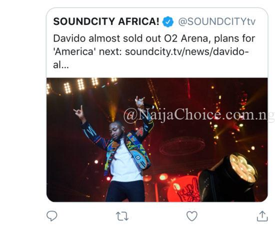 """""""Davido Didn't Sell Out O2 Arena"""" – Soundcity Expose Singer"""