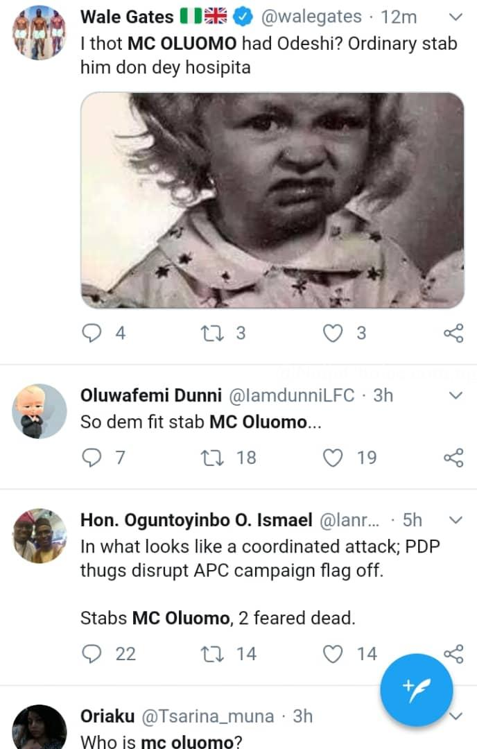 Lagosians React As 'A Whole' MC Oluomo Is Stabbed At APC Rally. Lands In Hospital
