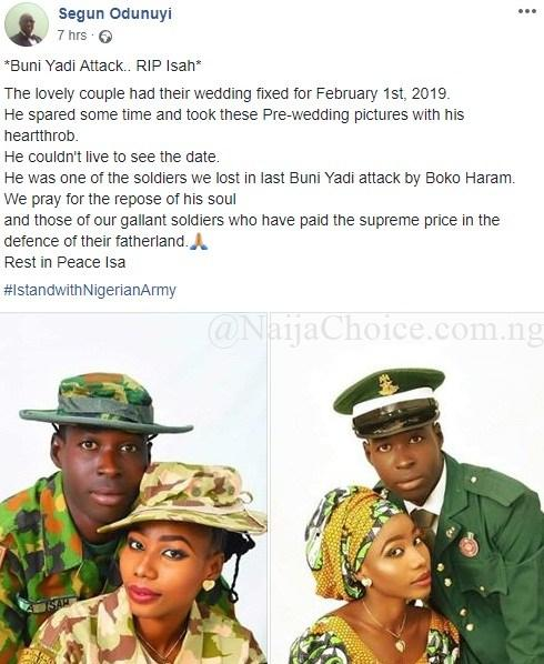 Young Soldier Set To Wed This Friday Killed By Boko Haram Terrorists in Yobe (Photos)