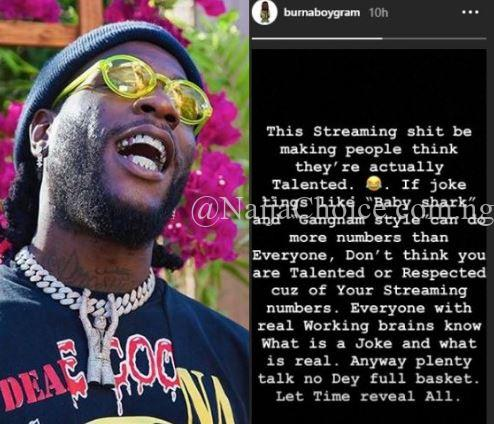'Don't think you are talented because you have good streaming numbers' – Burna Boy Shades Wizkid And Davido