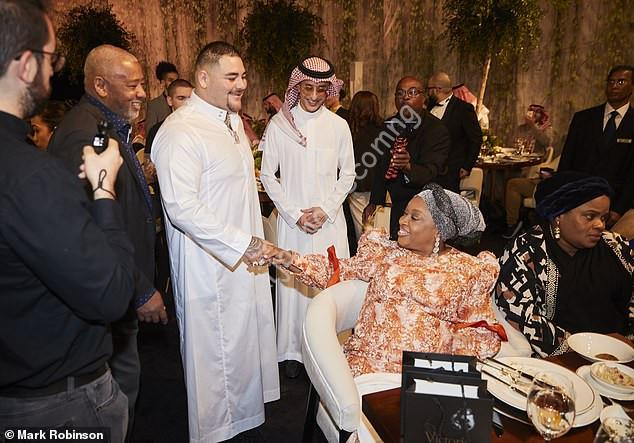 Anthony Joshua Posing With His Mother At Pre-fight Gala Dinner In Saudi Arabia (Photos)