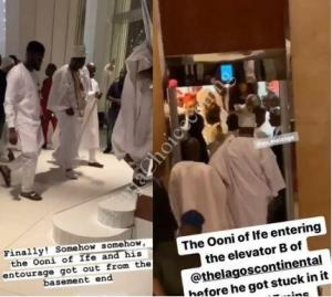 Panic As Ooni Of Ife Gets Stuck Inside The Elevator At A Lagos Hotel (Video)