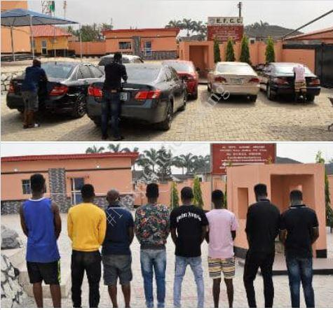 See Photos Of Eight Suspected Yahoo-boys Arrested Alongside Their Cars In Ibadan