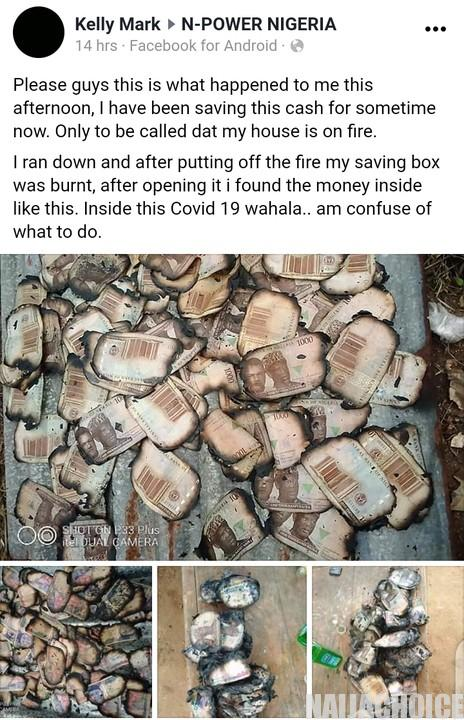 Man Loses The Money In His Saving Box To Fire  (Photos)