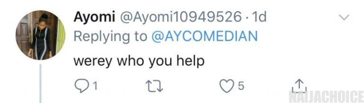 Nigerian Comedian AY has been slammed on Twitter for making silly Tweets