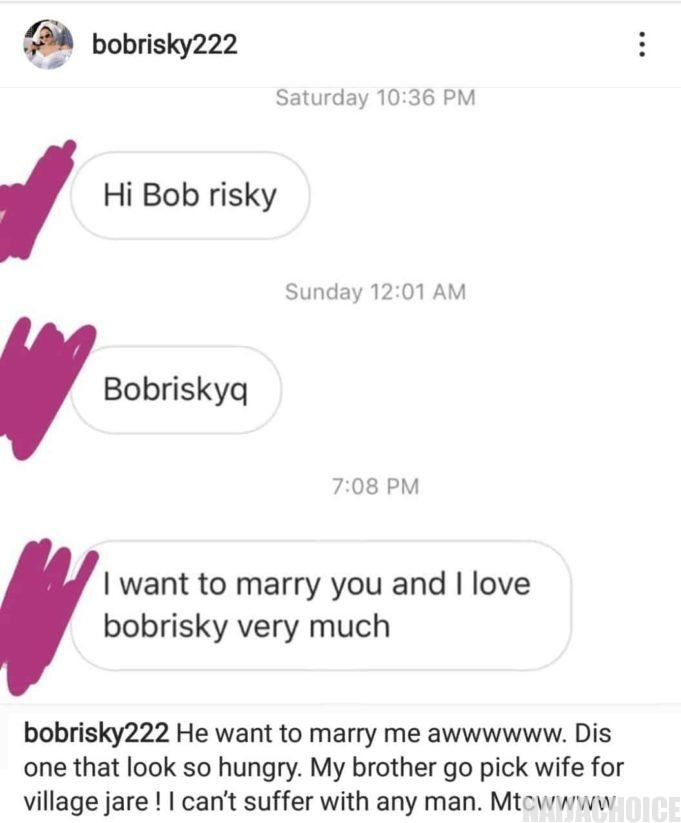Bobrisky shows off the marriage proposal a guy sent to him.