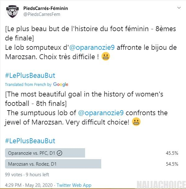 Desire Oparanozie's Goal Nominated As The Most Beautiful Goal In The French Cup
