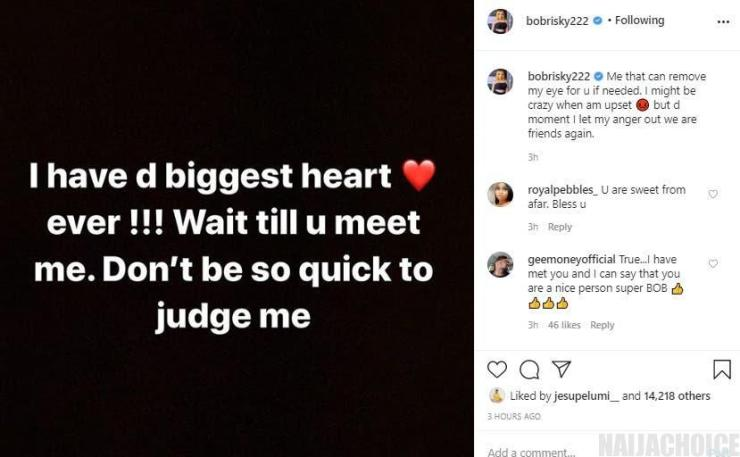 """""""I Have The Biggest Heart, Don't Be So Quick To Judge Me"""" – Bobrisky"""