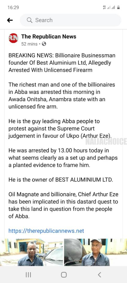 Abba/Ukpo Land Tussle: Richest Man In Abba Arrested Over Unlicensed Guns