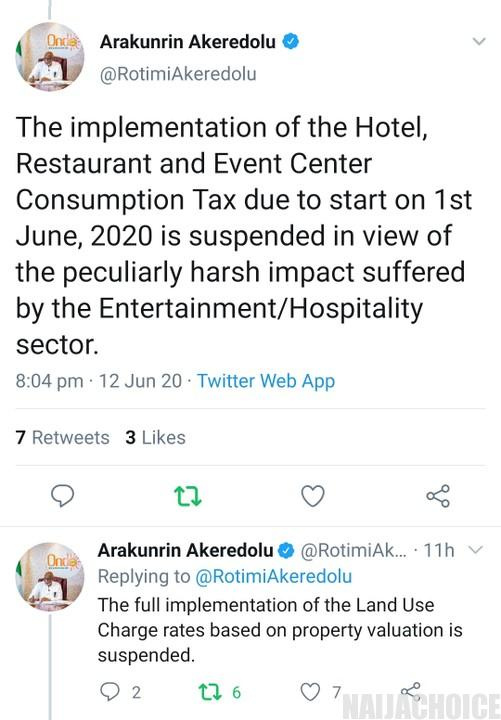 Akeredolu Announces Tax Cut For Businesses In Ondo To Cushion Effect Of COVID-19