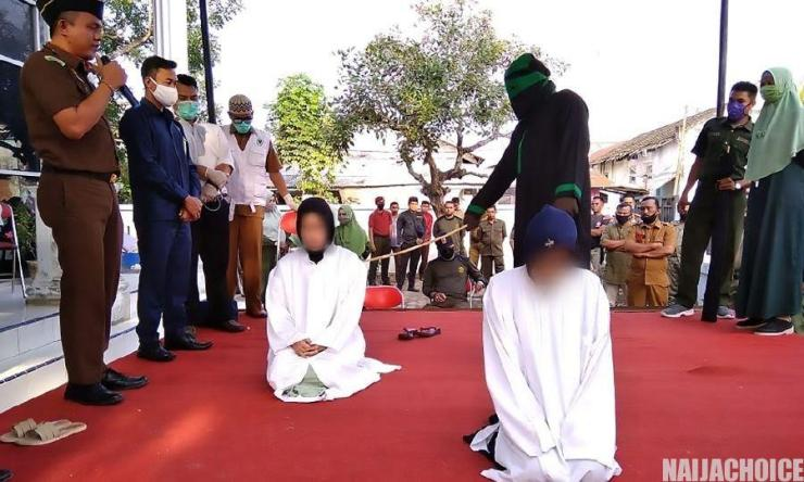 2 Indonesian Women Publicly Whipped 100 Times Each For Sex Work (Photo)