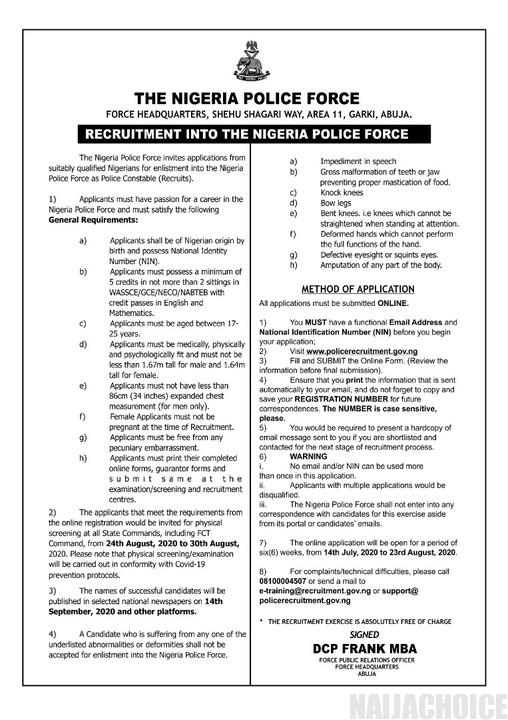Nigeria Police Recruitment 2020 Is On See How To Apply