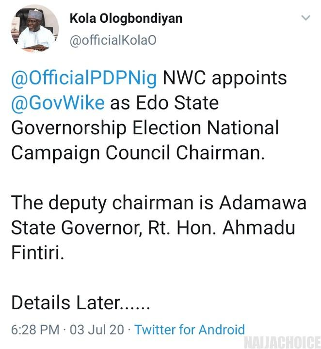 PDP Appoints Wike, Chairman Edo National Campaign Council
