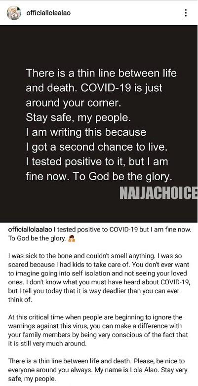 COVID - 19: A Thin Line Between Life & Death - Actress Lola Alao After Testing Positive