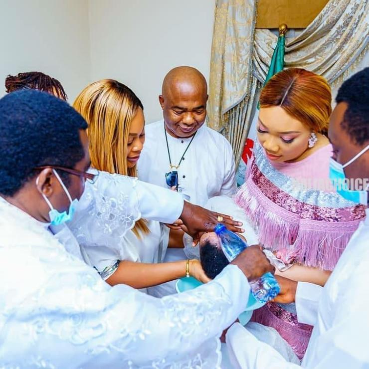 Governor Hope Uzodinma And Wife Baptize Their Beautiful Twin Daughters (Photos)