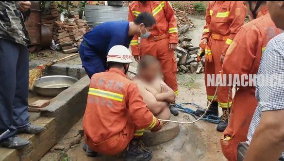 See The Bizarre Moment A Man Got Saved From Falling Inside A Well By His Oversized Stomach (Photos)