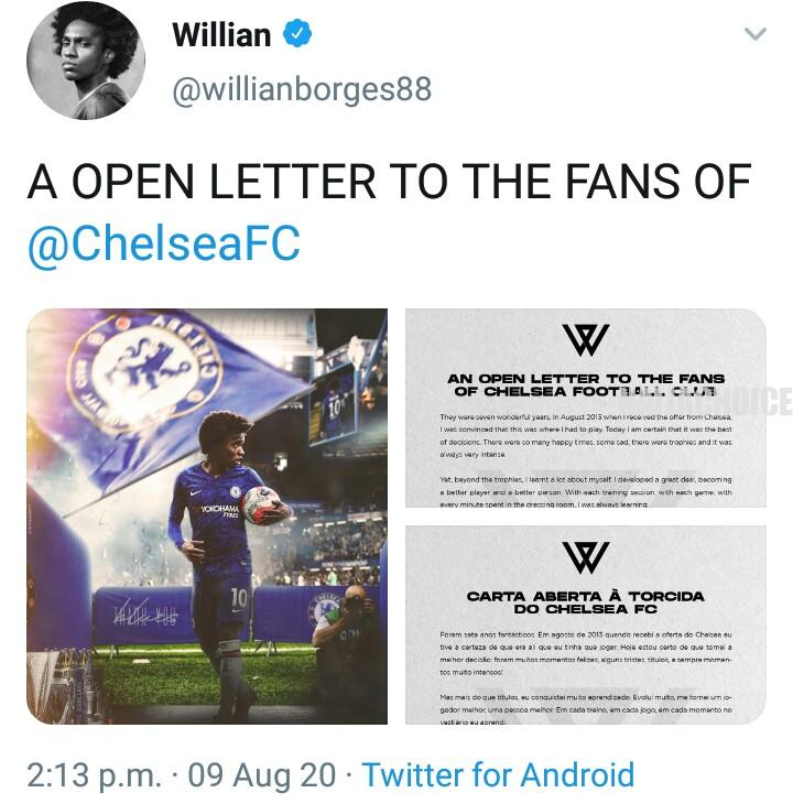 Willian Borges Pens Goodbye Message To Chelsea Fans, Closes-In On Arsenal Deal