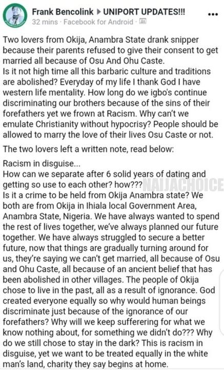 2 Lovers From Anambra Commit Suicide . Drop Suicide Note (Disturbing Pictures)