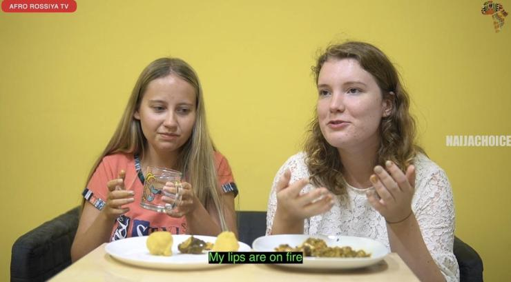 Russians Eat Okro Soup And Eba For The First Time (Photos, Video)