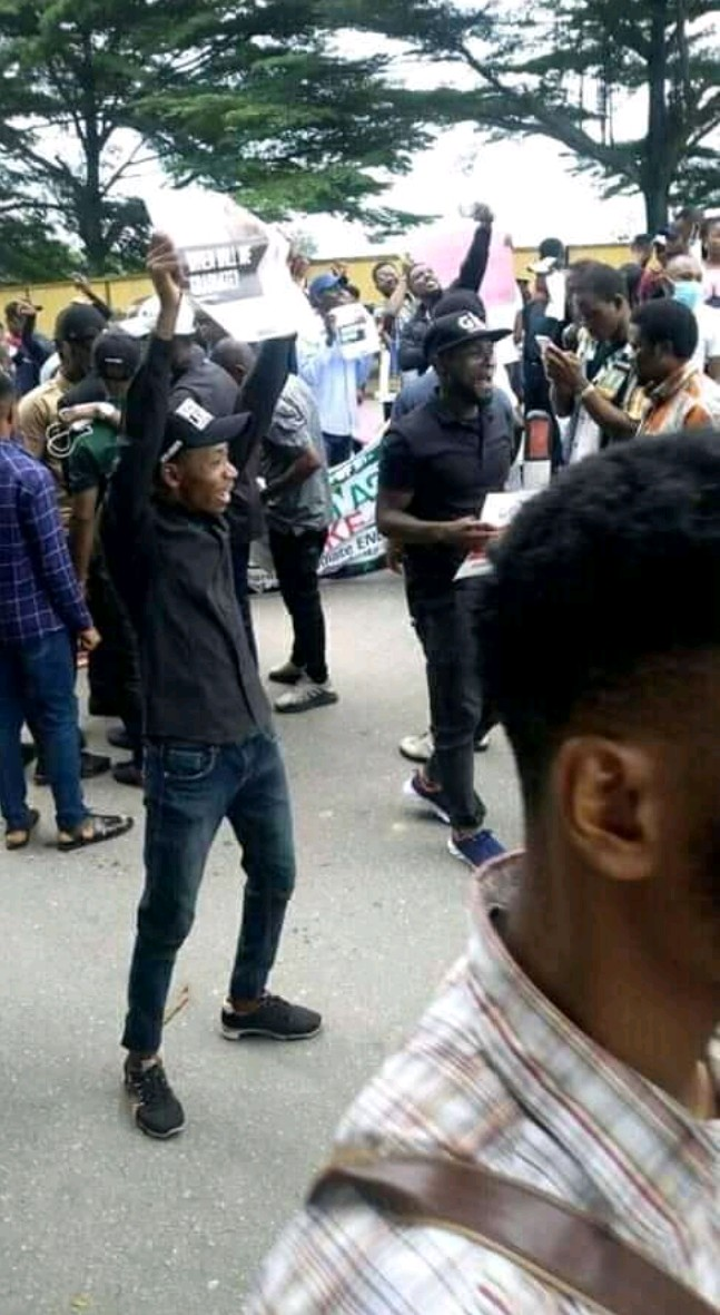 ASUU Strike: 'We've Finished Our Parents' Food' - UNIUYO Students Protest (Pics)