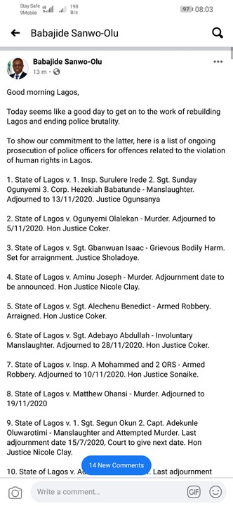 EndSARS: Sanwo - Olu Lists Names Of Police Officers Currently Being Prosecuted