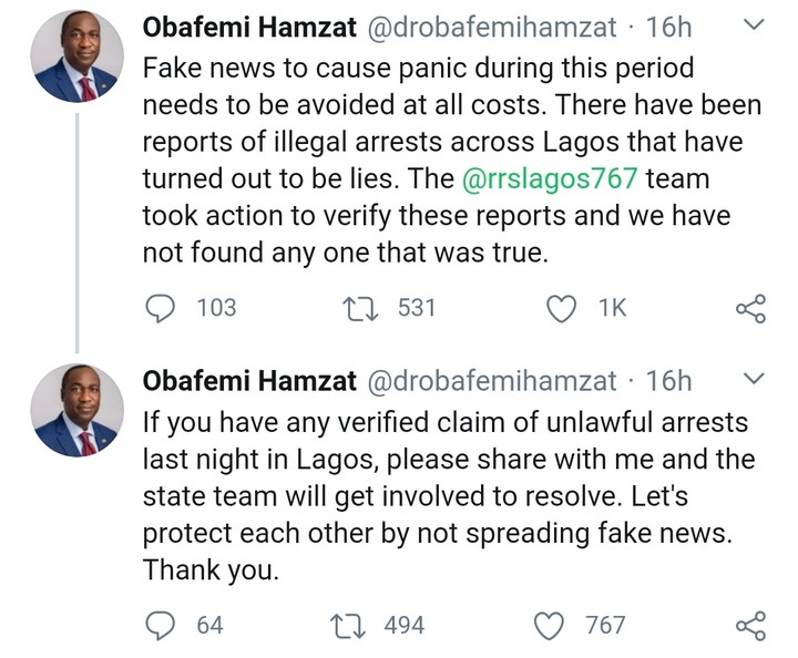 Lagos Deputy Governor Debunks Alleged Overnight Arrest Of EndSARS Protesters In Lagos