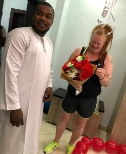'She said yes' – Nigerian man proposes to his older white lover (Photos)