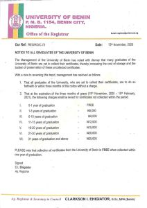 Come And Collect Your Certificates! - University Of Benin Pleads (Photo)
