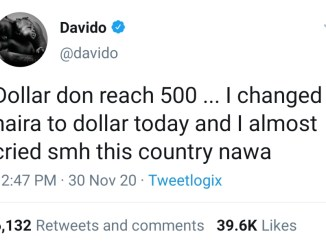 I Almost Cried When I Changed Naira To Dollars Today - Davido