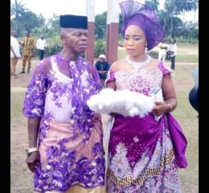 Pregnant Nigerian Lady Marries Old Man After Man Who Got Her Pregnant Absconded (Pix)