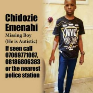 Update: Autistic Boy Who Was Reported Missing In Lagos Found Safe After One Week
