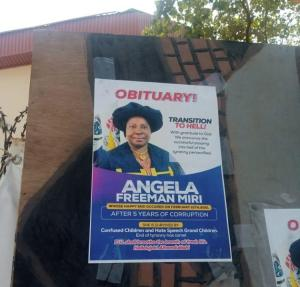 Federal University Lokoja Staff Mock Outgoing VC With Obituary Posters (Photos)