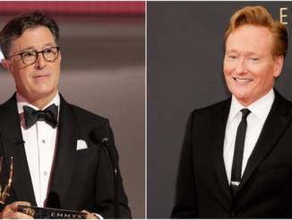 Conan O'Brien crashes the stage after Stephen Colbert wins an Emmy