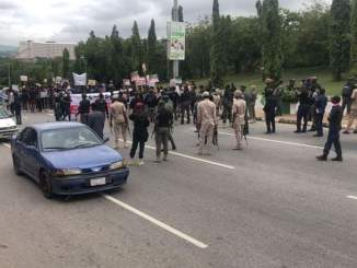 Armed Security Operatives Block #EndSARSMemorial Protesters In Abuja (Photos)