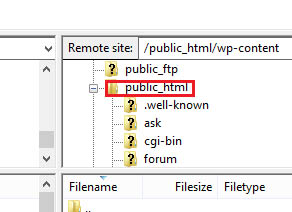 accessing public_html on FTP client