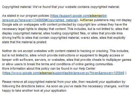 Google AdSense rejection message 2