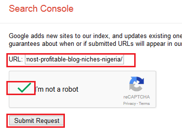 Submitng URL to Google Search Console
