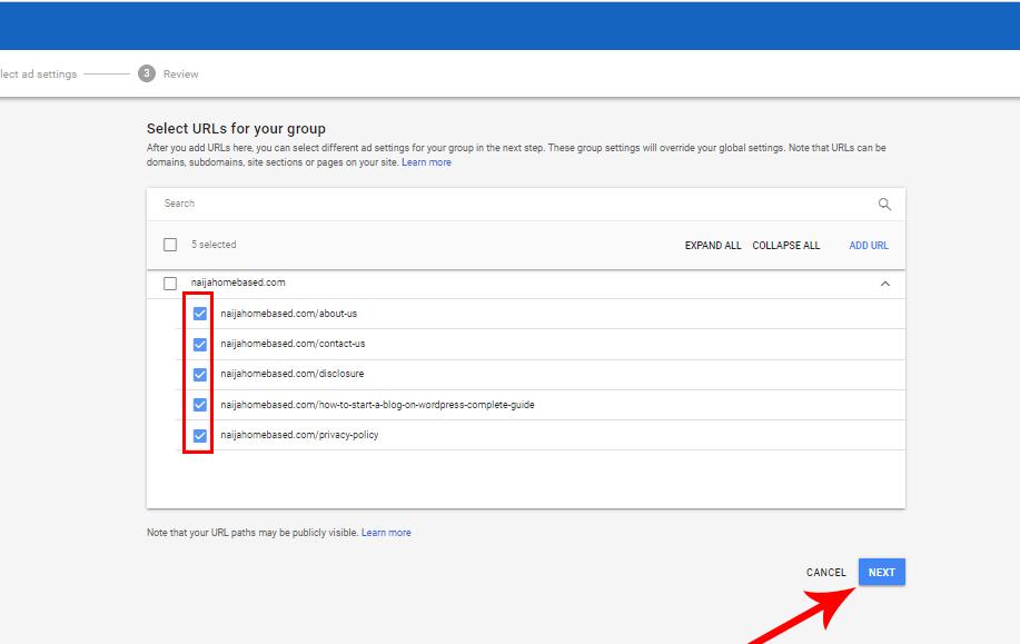 URL selected