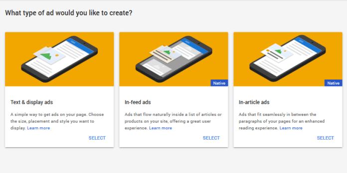 Types AdSense ad units