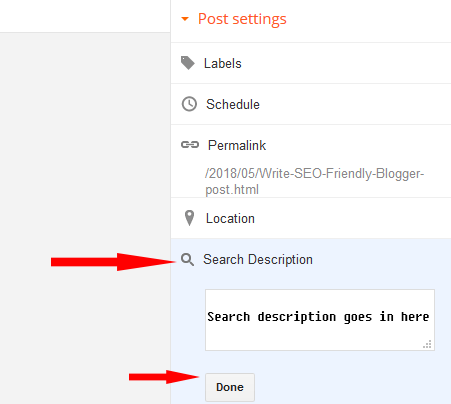 Adding search description to blogger