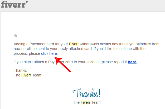 Confirm Fiverr and Payoneer MasterCard linking