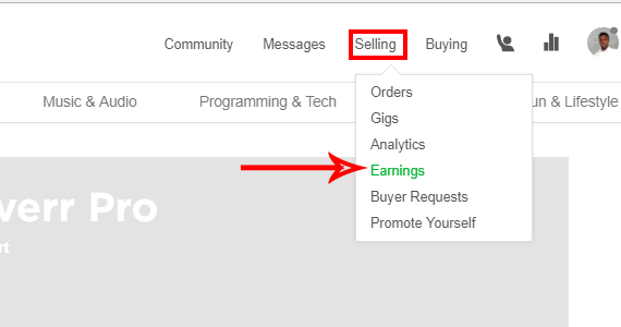 click on sellings and then earnings