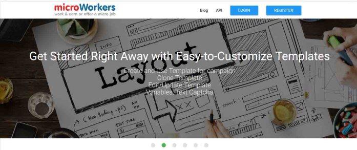 Homepage of Microworker.com