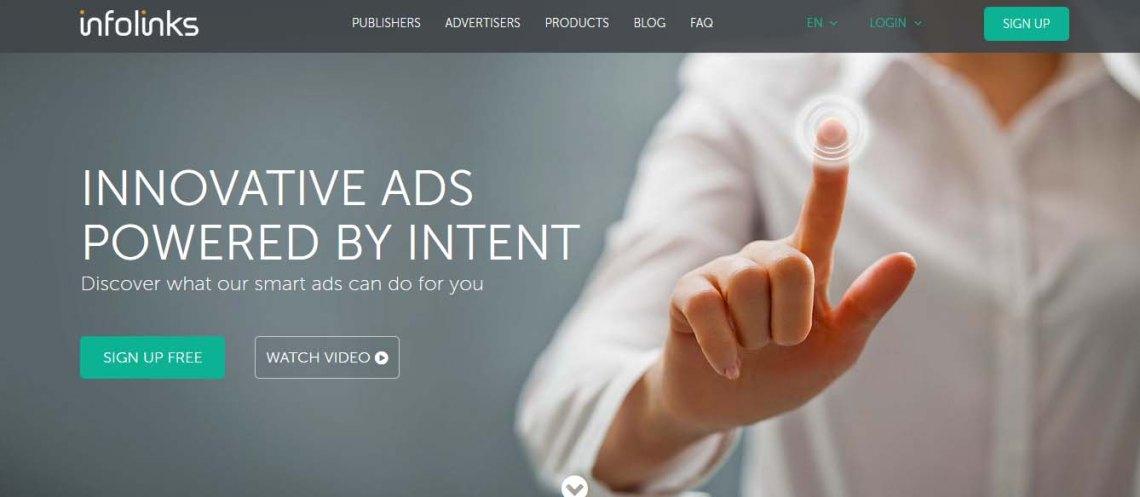 homepage of infolinks.com